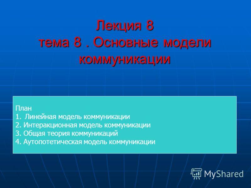 Лекция 8 тема 8. Основные модели коммуникации План 1.Линейная модель коммуникации 2. Интеракционная модель коммуникации 3. Общая теория коммуникаций 4. Аутопотетическая модель коммуникации