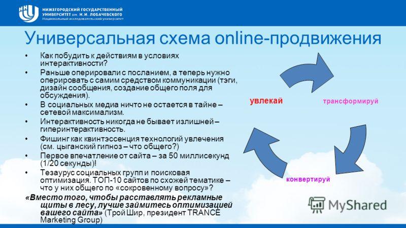 Универсальная схема online-продвижения Как побудить к действиям в условиях интерактивности? Раньше оперировали с посланием, а теперь нужно оперировать с самим средством коммуникации (тэги, дизайн сообщения, создание общего поля для обсуждения). В соц