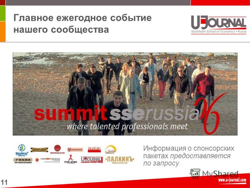 11 Главное ежегодное событие нашего сообщества Информация о спонсорских пакетах предоставляется по запросу