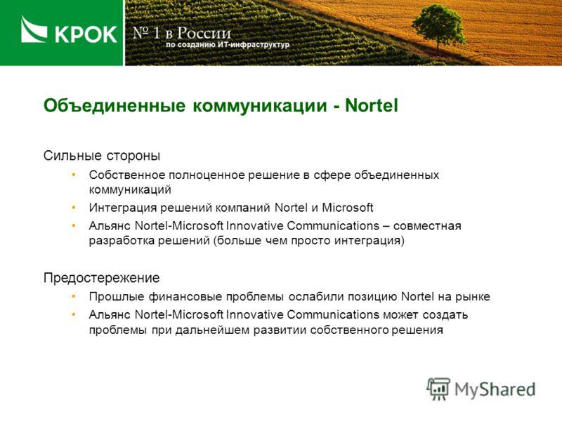 Объединенные коммуникации - Nortel Сильные стороны Собственное полноценное решение в сфере объединенных коммуникаций Интеграция решений компаний Nortel и Microsoft Альянс Nortel-Microsoft Innovative Communications – совместная разработка решений (бол