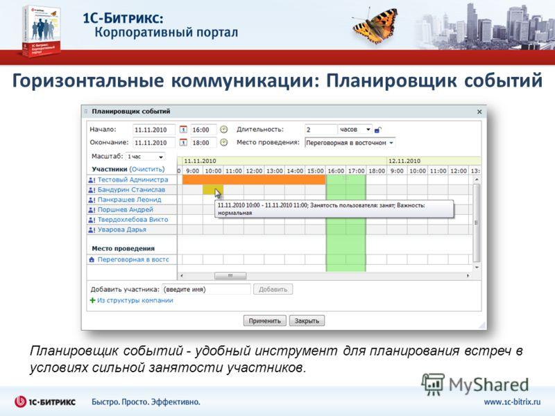 Горизонтальные коммуникации: Планировщик событий Планировщик событий - удобный инструмент для планирования встреч в условиях сильной занятости участников.