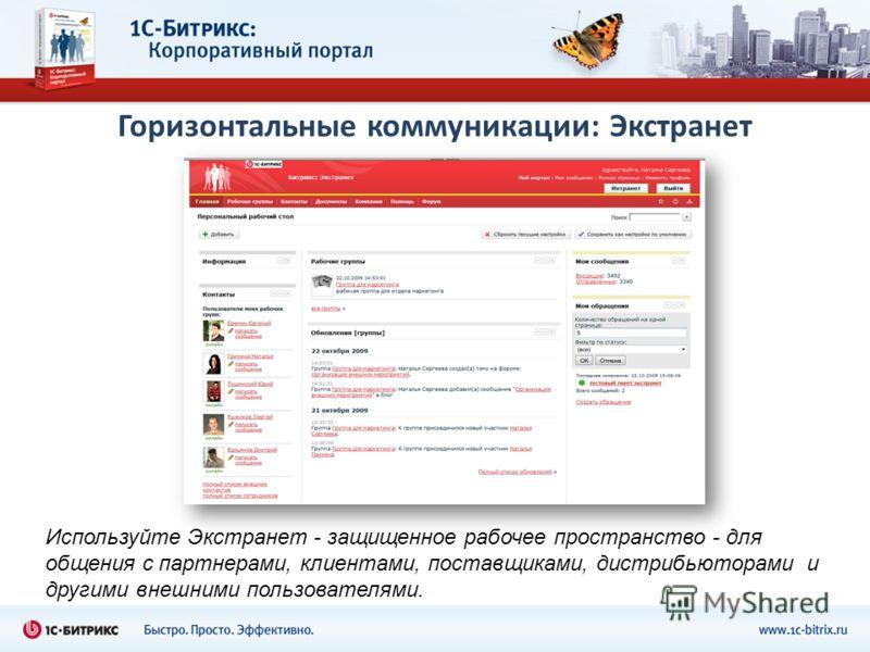 Горизонтальные коммуникации: Экстранет Используйте Экстранет - защищенное рабочее пространство - для общения с партнерами, клиентами, поставщиками, дистрибьюторами и другими внешними пользователями.