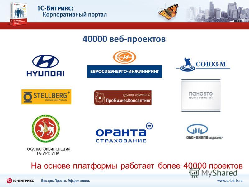 40000 веб-проектов На основе платформы работает более 40000 проектов ГОСАЛКОГОЛЬИНСПЕЦИЯ ТАТАРСТАНА
