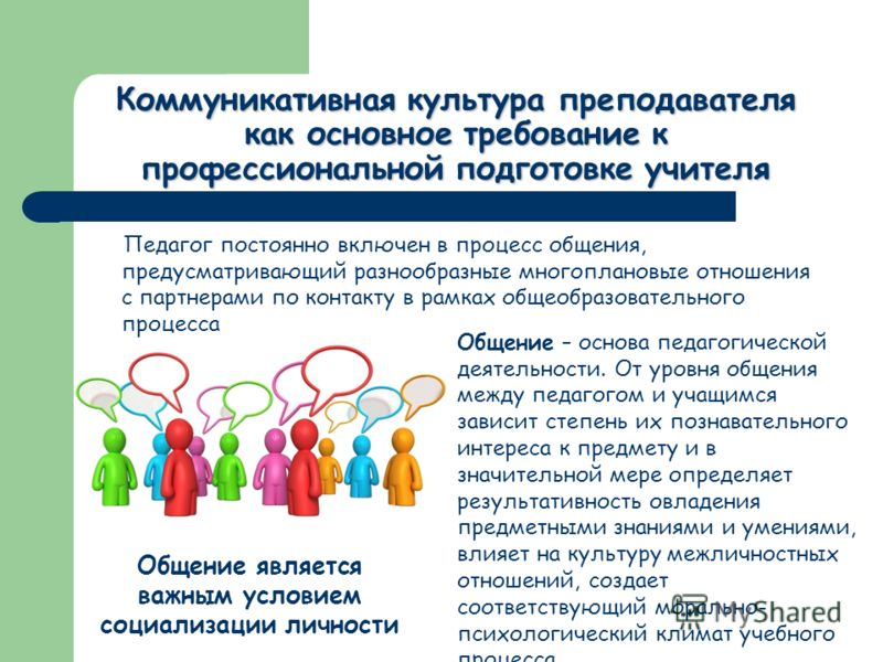 Коммуникативная культура преподавателя как основное требование к профессиональной подготовке учителя Педагог постоянно включен в процесс общения, предусматривающий разнообразные многоплановые отношения с партнерами по контакту в рамках общеобразовате