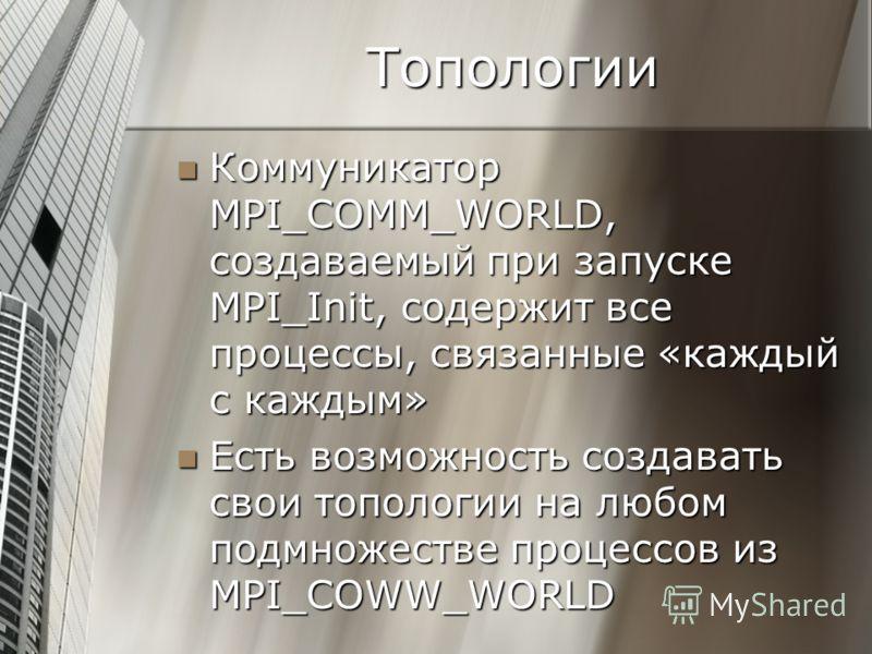 Топологии Коммуникатор MPI_COMM_WORLD, создаваемый при запуске MPI_Init, содержит все процессы, связанные «каждый с каждым» Коммуникатор MPI_COMM_WORLD, создаваемый при запуске MPI_Init, содержит все процессы, связанные «каждый с каждым» Есть возможн