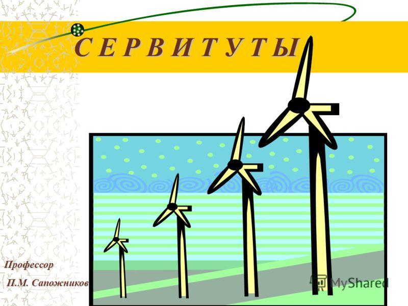 С Е Р В И Т У Т Ы Профессор П.М. Сапожников П.М. Сапожников