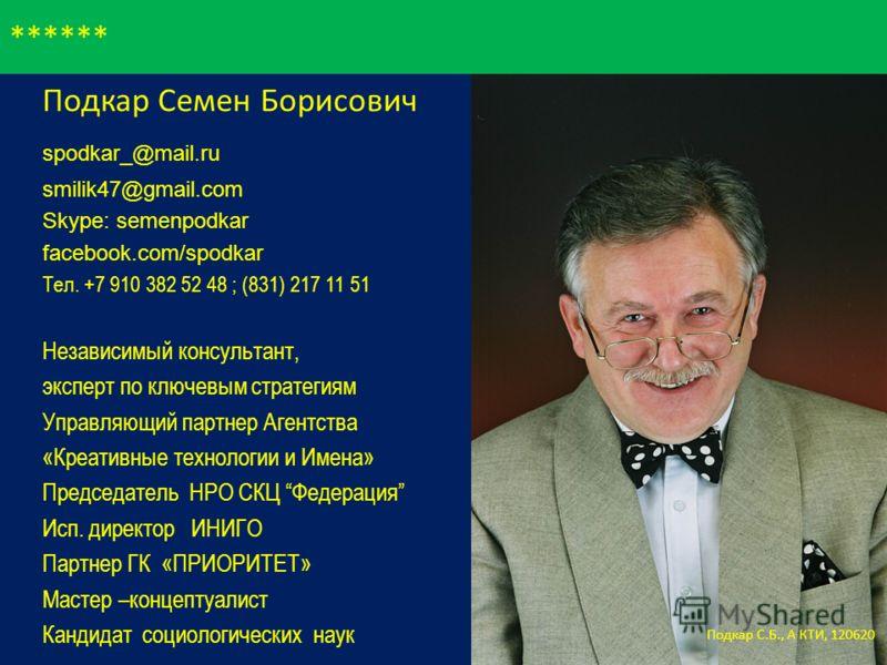 ****** Подкар Семен Борисович spodkar_@mail.ru smilik47@gmail.com Skype: semenpodkar facebook.com/spodkar Тел. +7 910 382 52 48 ; (831) 217 11 51 Независимый консультант, эксперт по ключевым стратегиям Управляющий партнер Агентства «Креативные технол
