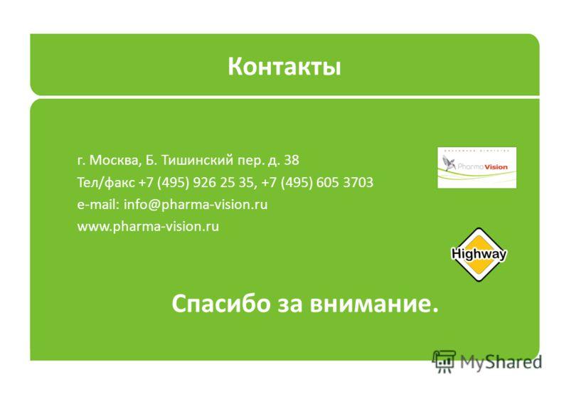 Контакты г. Москва, Б. Тишинский пер. д. 38 Тел/факс +7 (495) 926 25 35, +7 (495) 605 3703 e-mail: info@pharma-vision.ru www.pharma-vision.ru Спасибо за внимание.