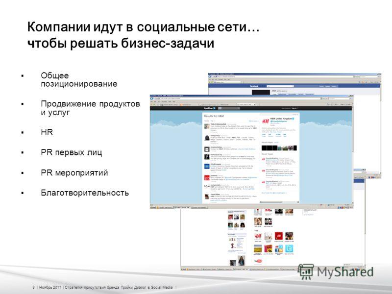 3 | Ноябрь 2011 | Стратегия присутствия бренда Тройки Диалог в Social Media | Компании идут в социальные сети… ч тобы решать бизнес-задачи Общее позиционирование Продвижение продуктов и услуг HR PR первых лиц PR мероприятий Благотворительность