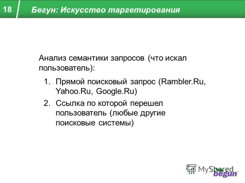 18 Бегун: Искусство таргетирования Анализ семантики запросов (что искал пользователь): 1.Прямой поисковый запрос (Rambler.Ru, Yahoo.Ru, Google.Ru) 2.Ссылка по которой перешел пользователь (любые другие поисковые системы)