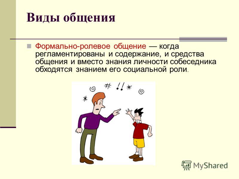 Виды общения Формально-ролевое общение когда регламентированы и содержание, и средства общения и вместо знания личности собеседника обходятся знанием его социальной роли.