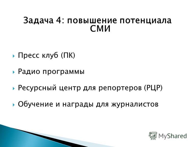 Задача 4: повышение потенциала СМИ Пресс клуб (ПК) Радио программы Ресурсный центр для репортеров (РЦР) Обучение и награды для журналистов