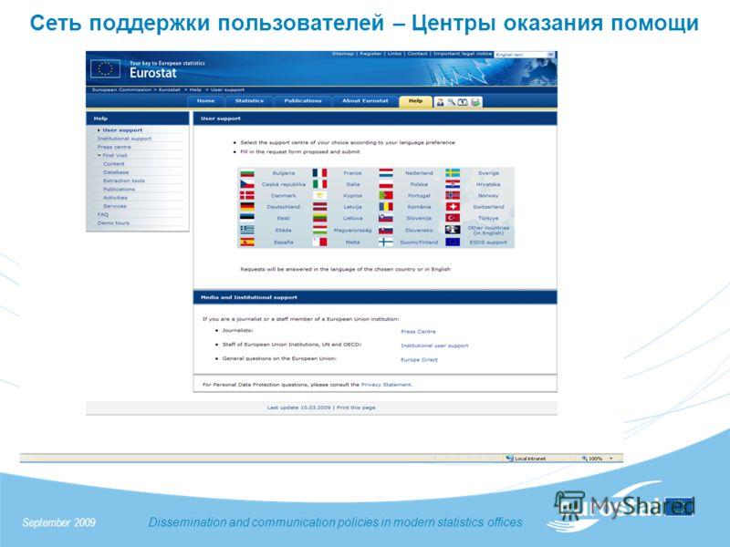 Сеть поддержки пользователей – Центры оказания помощи September 2009 Dissemination and communication policies in modern statistics offices