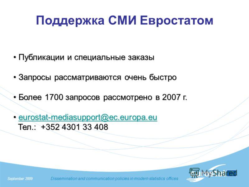 Поддержка СМИ Евростатом Публикации и специальные заказы Публикации и специальные заказы Запросы рассматриваются очень быстро Запросы рассматриваются очень быстро Более 1700 запросов рассмотрено в 2007 г. Более 1700 запросов рассмотрено в 2007 г. eur