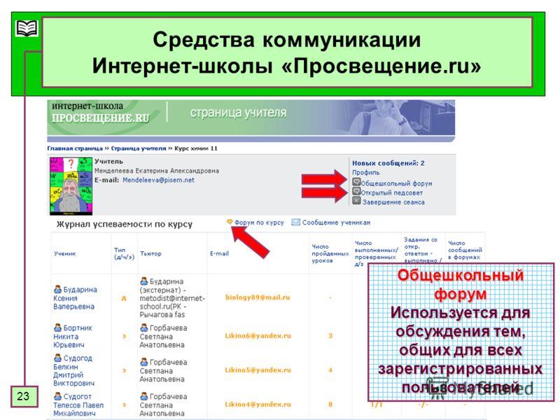 23 Средства коммуникации Интернет-школы «Просвещение.ru» Общешкольный форум Используется для обсуждения тем, общих для всех зарегистрированных пользователей
