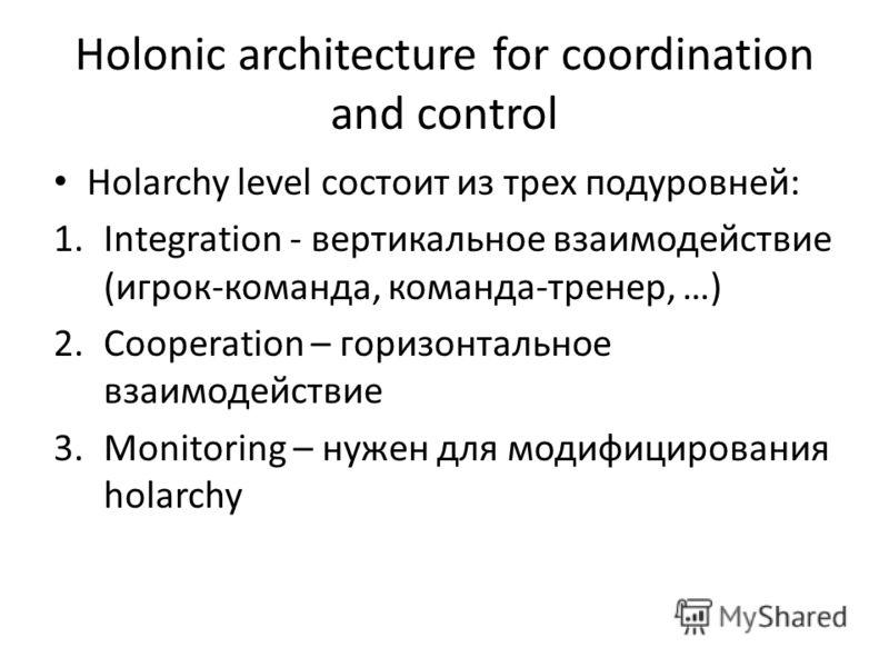 Holonic architecture for coordination and control Holarchy level состоит из трех подуровней: 1.Integration - вертикальное взаимодействие (игрок-команда, команда-тренер, …) 2.Cooperation – горизонтальное взаимодействие 3.Monitoring – нужен для модифиц