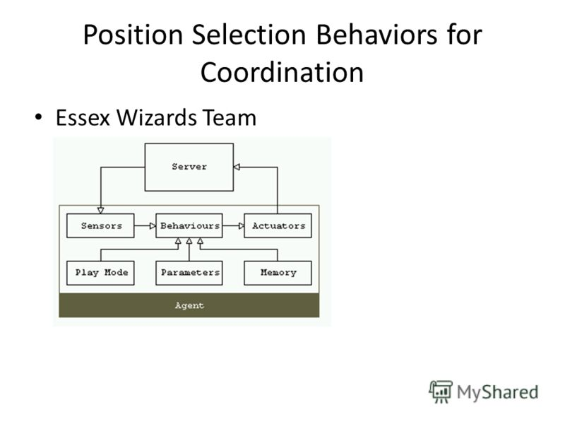 Position Selection Behaviors for Coordination Essex Wizards Team