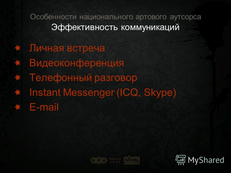 Особенности национального артового аутсорса Эффективность коммуникаций Личная встреча Видеоконференция Телефонный разговор Instant Messenger (ICQ, Skype) E-mail