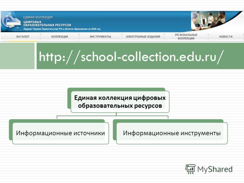 http://school-collection.edu.ru/ Единая коллекция цифровых образовательных ресурсов Информационные источникиИнформационные инструменты
