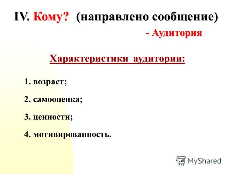 IV. Кому? (направлено сообщение) - Аудитория Характеристики аудитории: 1. возраст; 2. самооценка; 3. ценности; 4. мотивированность.