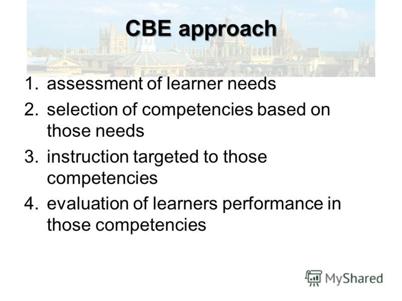 CBE approach 1.assessment of learner needs 2.selection of competencies based on those needs 3.instruction targeted to those competencies 4.evaluation of learners performance in those competencies
