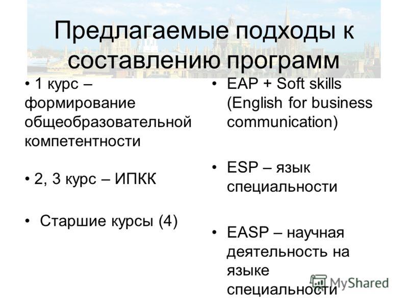 Предлагаемые подходы к составлению программ 1 курс – формирование общеобразовательной компетентности 2, 3 курс – ИПКК Старшие курсы (4) EAP + Soft skills (English for business communication) ESP – язык специальности EASP – научная деятельность на язы