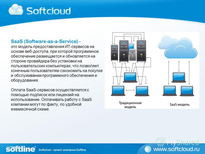 Softcloud – проект компании Softline SaaS (Software-as-a-Service) ̶̶̶ это модель предоставления ИТ-сервисов на основе веб-доступа, при которой программное обеспечение размещается и обновляется на стороне провайдера без установки на пользовательских к
