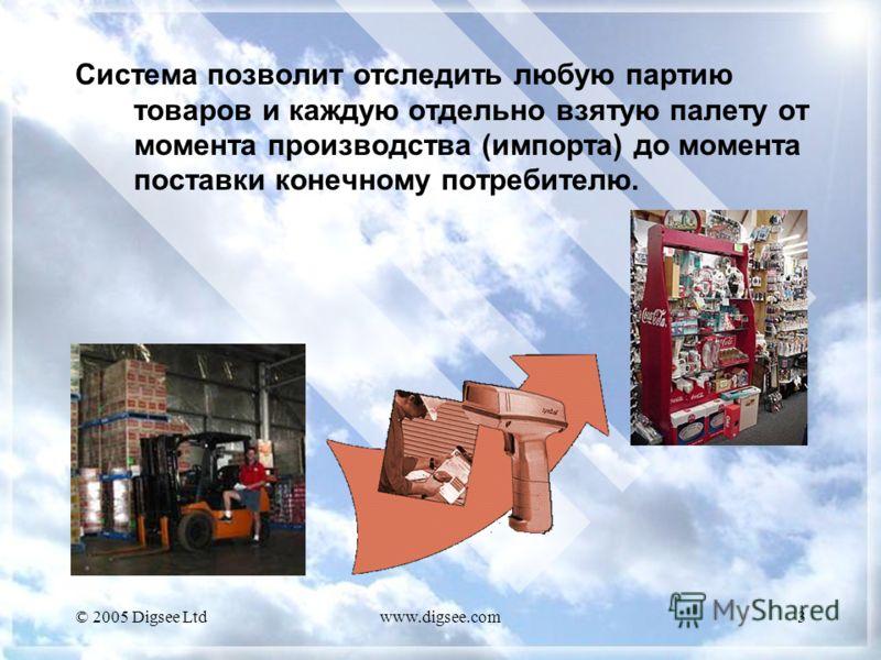 © 2005 Digsee Ltdwww.digsee.com3 Система позволит отследить любую партию товаров и каждую отдельно взятую палету от момента производства (импорта) до момента поставки конечному потребителю.