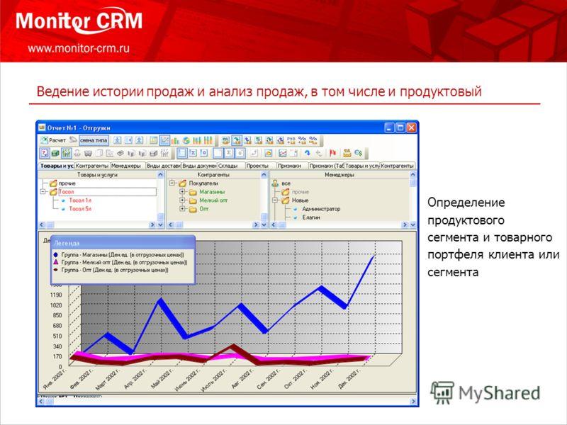 Ведение истории продаж и анализ продаж, в том числе и продуктовый Определение продуктового cегмента и товарного портфеля клиента или сегмента