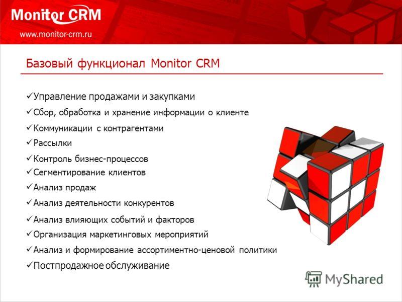 Базовый функционал Monitor CRM Сбор, обработка и хранение информации о клиенте Коммуникации с контрагентами Рассылки Контроль бизнес-процессов Сегментирование клиентов Анализ продаж Анализ деятельности конкурентов Анализ влияющих событий и факторов О