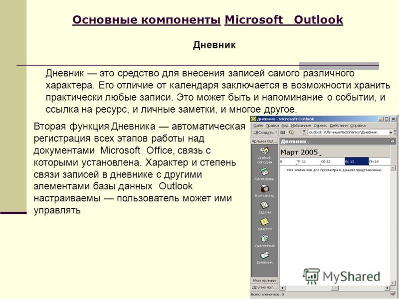 Основные компоненты Microsoft Outlook Дневник это средство для внесения записей самого различного характера. Его отличие от календаря заключается в возможности хранить практически любые записи. Это может быть и напоминание о событии, и ссылка на ресу