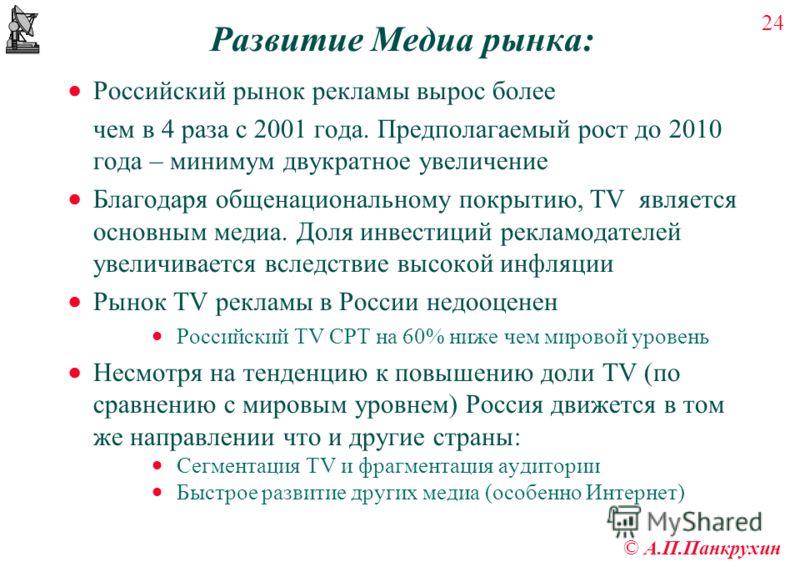 24 © А.П.Панкрухин Развитие Медиа рынка: Российский рынок рекламы вырос более чем в 4 раза с 2001 года. Предполагаемый рост до 2010 года – минимум двукратное увеличение Благодаря общенациональному покрытию, TV является основным медиа. Доля инвестиций