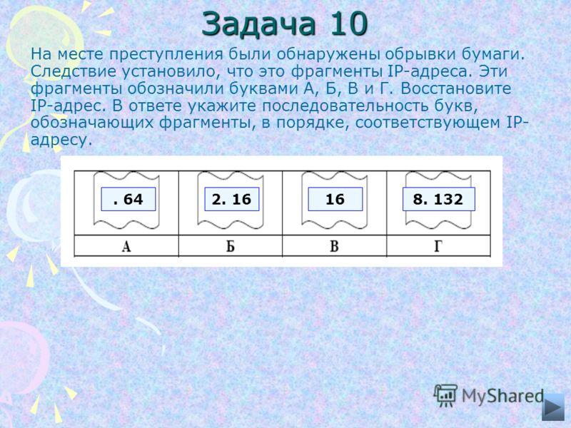 Задача 10 На месте преступления были обнаружены обрывки бумаги. Следствие установило, что это фрагменты IP-адреса. Эти фрагменты обозначили буквами А, Б, В и Г. Восстановите IP-адрес. В ответе укажите последовательность букв, обозначающих фрагменты,