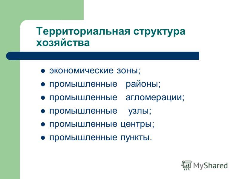 Территориальная структура хозяйства экономические зоны; промышленные районы; промышленные агломерации; промышленные узлы; промышленные центры; промышленные пункты.