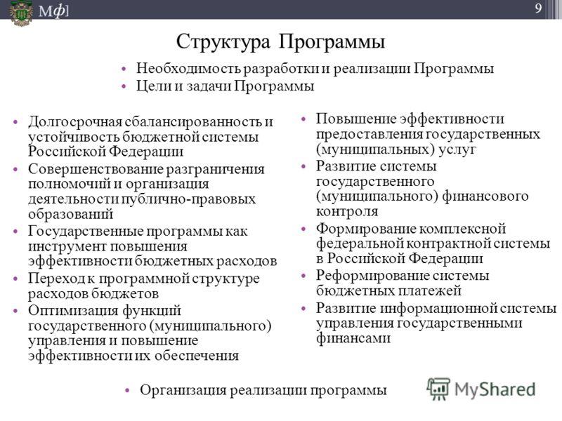 М ] ф 9 Структура Программы Долгосрочная сбалансированность и устойчивость бюджетной системы Российской Федерации Совершенствование разграничения полномочий и организация деятельности публично-правовых образований Государственные программы как инстру