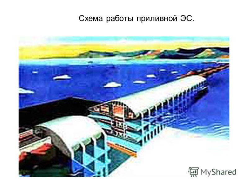 Схема работы приливной ЭС.