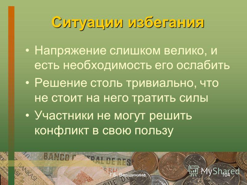 Г.Б. Вершинина103 Избегание кто-то чувствует себя не совсем правым, поэтому не хочет бороться за свою позицию и др.