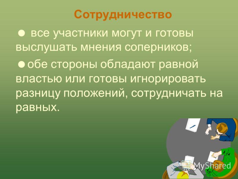 Г.Б. Вершинина94 Сотрудничество Ситуации использования: решение проблемы очень важно для всех; у коллег тесные, длительные и взаимозависимые отношения; для решения проблемы есть время;
