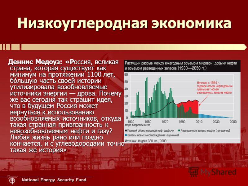 National Energy Security Fund Низкоуглеродная экономика Деннис Медоуз: «Россия, великая страна, которая существует как минимум на протяжении 1100 лет, бо́льшую часть своей истории утилизировала возобновляемые источники энергии дрова. Почему же вас се