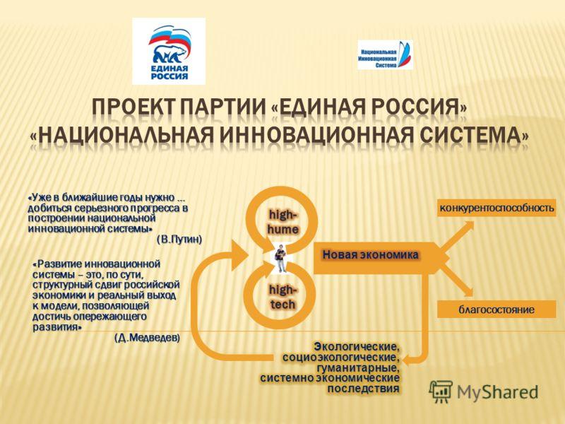 «Уже в ближайшие годы нужно … добиться серьезного прогресса в построении национальной инновационной системы» (В.Путин) «Развитие инновационной системы – это, по сути, структурный сдвиг российской экономики и реальный выход к модели, позволяющей дости