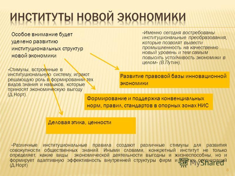 8 «Именно сегодня востребованы институциональные преобразования, которые позволят вывести промышленность на качественно новый уровень и тем самым повысить устойчивость экономики в целом» (В.Путин). Особое внимание будет уделено развитию институционал