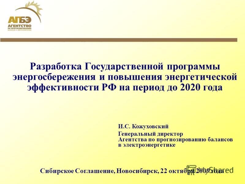 Разработка Государственной программы энергосбережения и повышения энергетической эффективности РФ на период до 2020 года И.С. Кожуховский Генеральный директор Агентства по прогнозированию балансов в электроэнергетике Сибирское Соглашение, Новосибирск