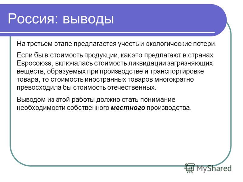 Россия: выводы На третьем этапе предлагается учесть и экологические потери. Если бы в стоимость продукции, как это предлагают в странах Евросоюза, включалась стоимость ликвидации загрязняющих веществ, образуемых при производстве и транспортировке тов