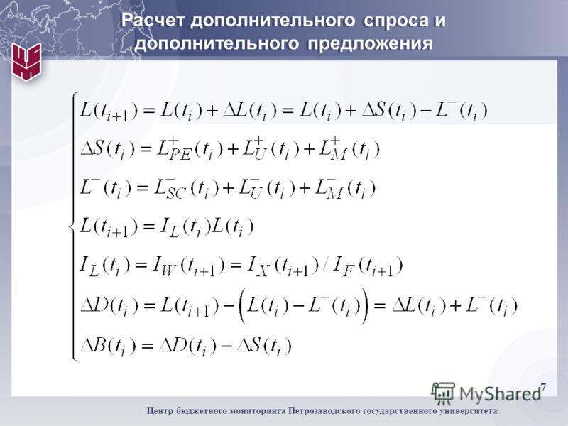 7 Центр бюджетного мониторинга Петрозаводского государственного университета Расчет дополнительного спроса и дополнительного предложения