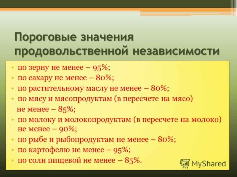 Пороговые значения продовольственной независимости по зерну не менее – 95%; по сахару не менее – 80%; по растительному маслу не менее – 80%; по мясу и мясопродуктам (в пересчете на мясо) не менее – 85%; по молоку и молокопродуктам (в пересчете на мол