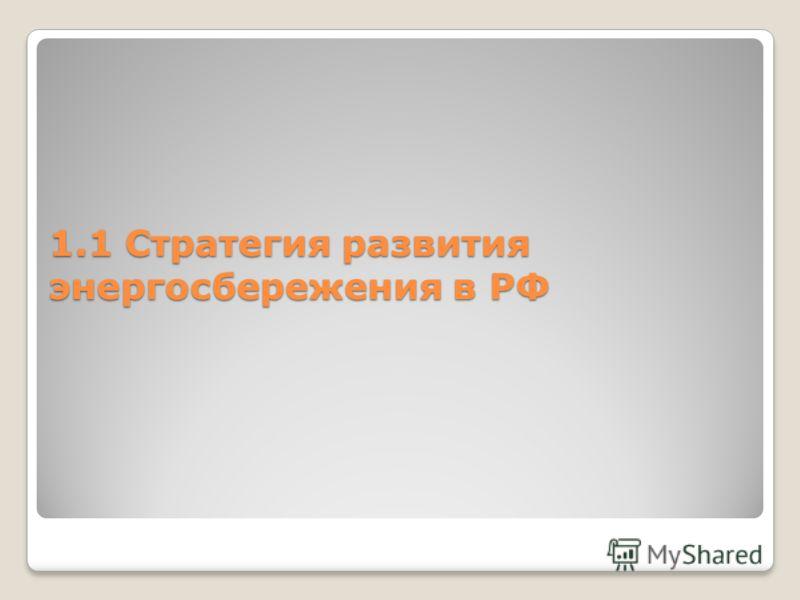 1.1 Стратегия развития энергосбережения в РФ