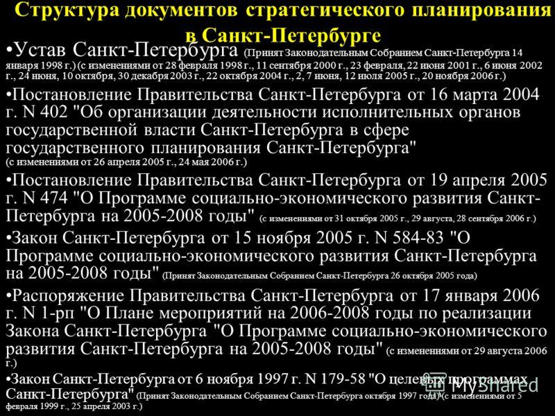 Структура документов стратегического планирования в Санкт-Петербурге Устав Санкт-Петербурга (Принят Законодательным Собранием Санкт-Петербурга 14 января 1998 г.) (с изменениями от 28 февраля 1998 г., 11 сентября 2000 г., 23 февраля, 22 июня 2001 г.,