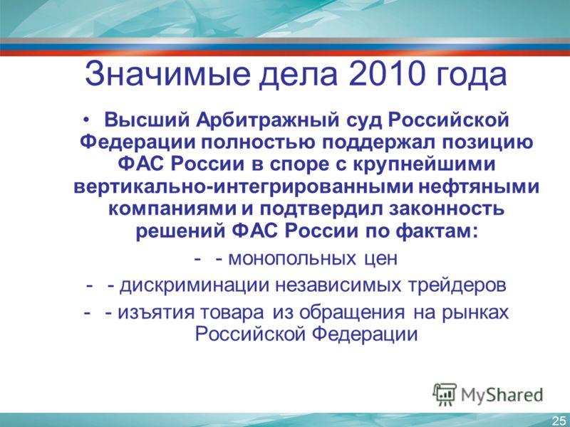 25 Значимые дела 2010 года Высший Арбитражный суд Российской Федерации полностью поддержал позицию ФАС России в споре с крупнейшими вертикально-интегрированными нефтяными компаниями и подтвердил законность решений ФАС России по фактам: -- монопольных