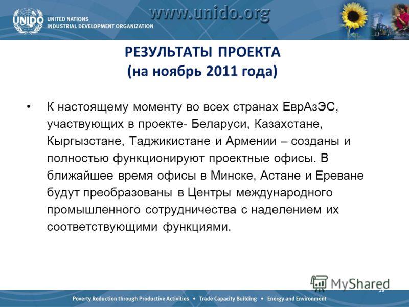 РЕЗУЛЬТАТЫ ПРОЕКТА (на ноябрь 2011 года) К настоящему моменту во всех странах ЕврАзЭС, участвующих в проекте- Беларуси, Казахстане, Кыргызстане, Таджикистане и Армении – созданы и полностью функционируют проектные офисы. В ближайшее время офисы в Мин