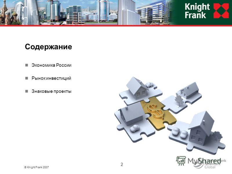 Содержание © Knight Frank 2007 Экономика России Рынок инвестиций Знаковые проекты 2